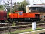 Lokomotiven/110107/eine-mak-1206-der-rbh-ehemals Eine MaK 1206 der RBH (ehemals RAG) ist am 25.04.2008 im Bahnhof Gladbeck-West unterwegs.